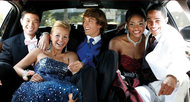 Prom kids inside a limousine